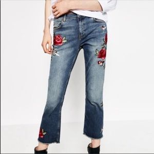 Zara Woman Embroidered Cropped Jeans Size 4